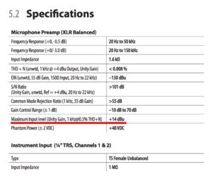 specifications scheda audio