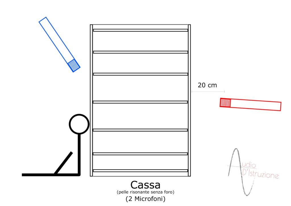 microfonazione batteria Cassa senza foro 2 microfoni